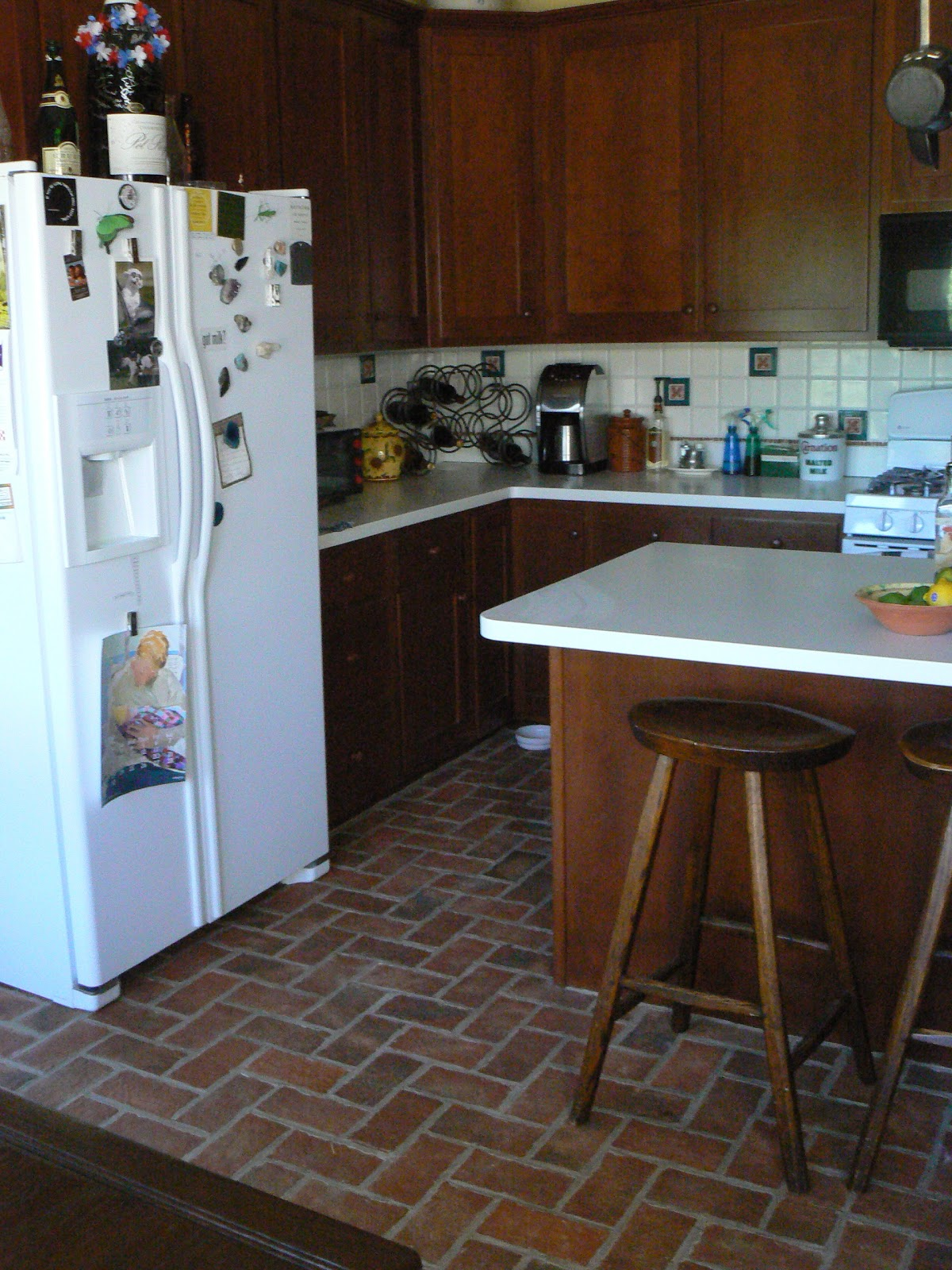 kitchen with brick floor - photo #14