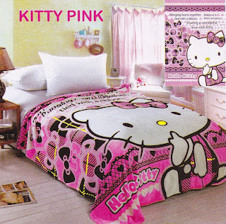 Selimut Sutra Panel Belladona Kitty Pink