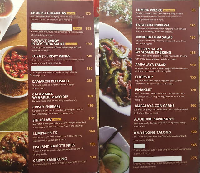 A photo of menu from Kuya J Restaurant