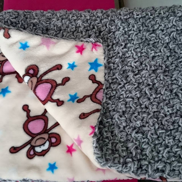 crochet baby blanket fleece fabric backing handmade thick warm snugly throw