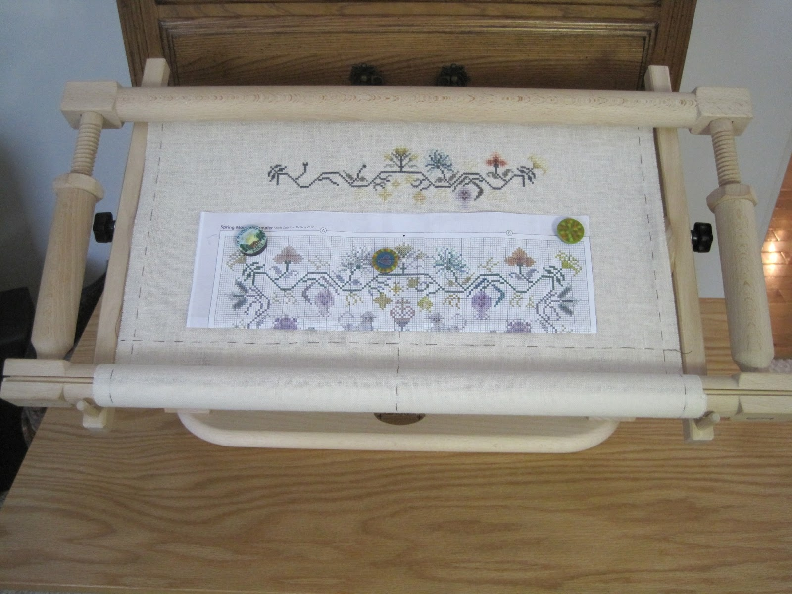 Old Fashioned Stitching Frames Stands Adornment - Picture Frame ...