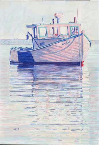 "Lobster Boat ""Sarah Louise"" Belfast Harbor 7"" x 10"" - Before"