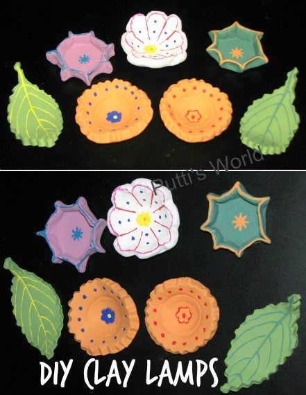 DIY Clay Lamps for Diwali Kids Craft