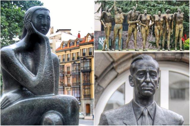 Esculturas La pensadora Monumento a la concordia y Monumento a Placido Alvarez Buylla en Oviedo