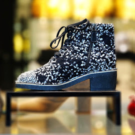 Chanel B&W Casual Tweed Lace-Up Boots.