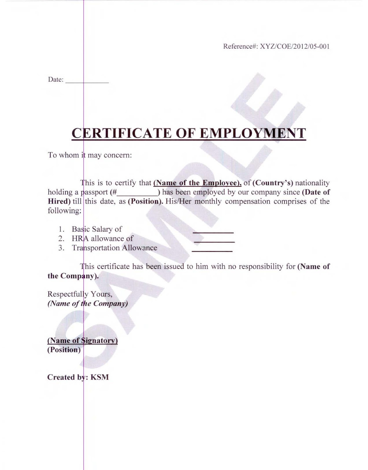 employment certificates samples