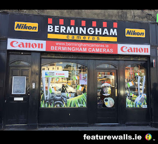 Canon camera world cup rugby window paintiung by  promotional window paining by featurewalls.ie mural artists