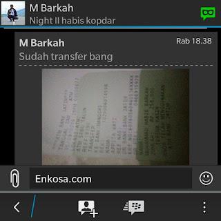 Konfirmasi pembayaran jersey oleh Muhammad Habib Barkah di enkosa sport ke rekenin yang telah di sediakan