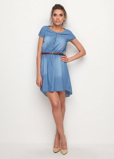 kemerli mavi elbise