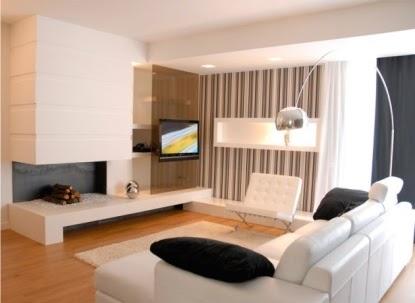 Sala blanca comedor rayado salas y comedores decoracion - Salon comedor minimalista ...