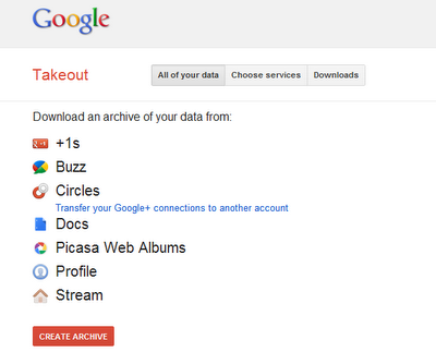 Google Takeout home