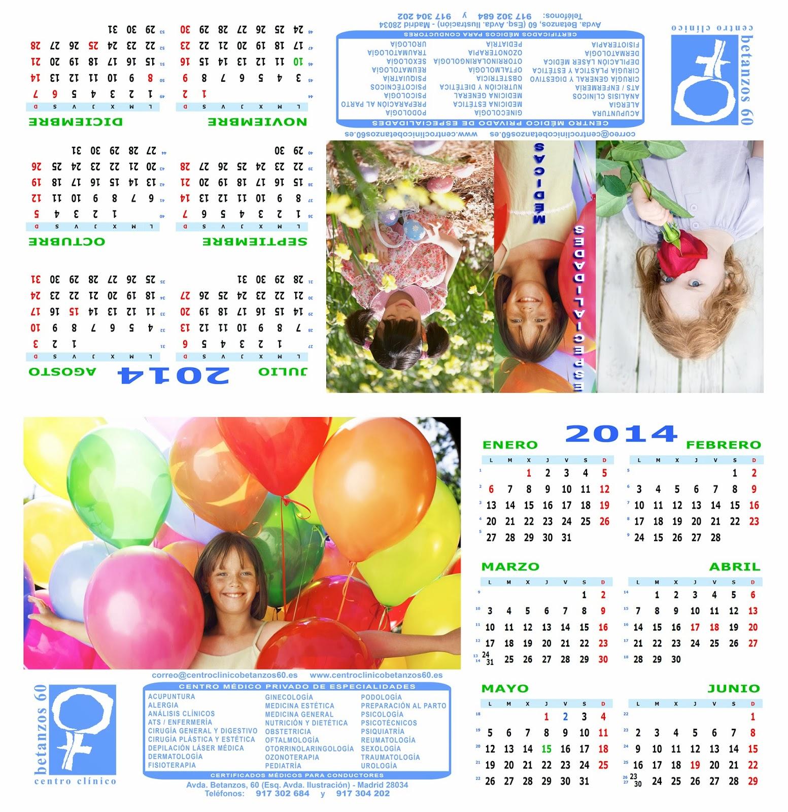 Diseño del calendario semestral 2014 especial de sobremesa