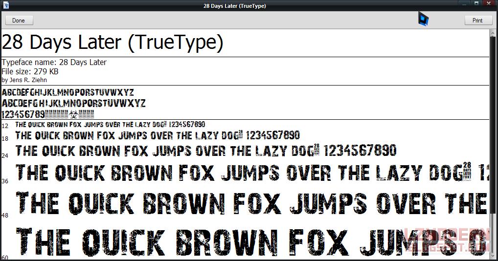 contoh salah satu font