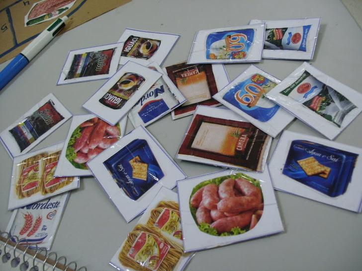 Jogo de memória produtos de panfletos