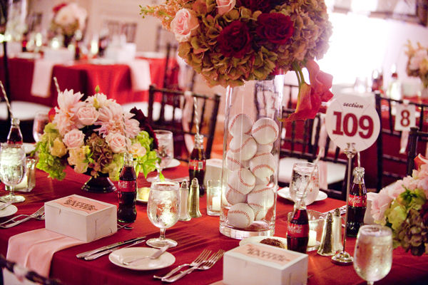 Your wedding support get the look baseball themed wedding so continuing todays sports theme lets look at baseball red blue orange black and of course white baseballs and bats as wedding decorations get junglespirit Images