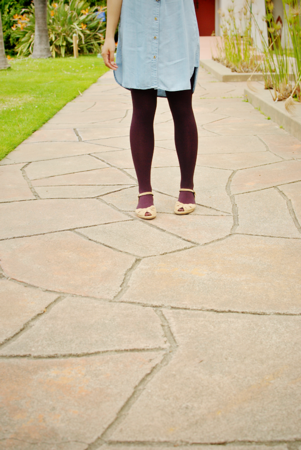 chambray and tights