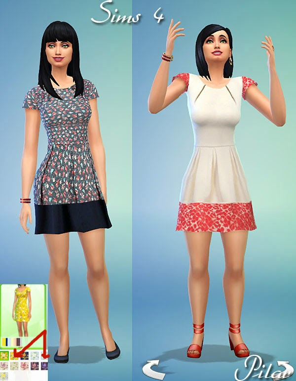 Things Pilar - Sims 3 - Sims 4: Floral Dresses and summner 25/08/2014