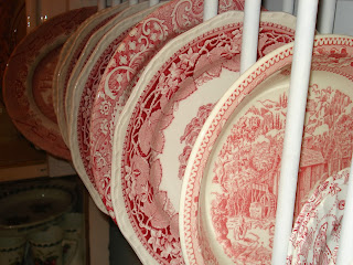 Red & White Transferware Plates