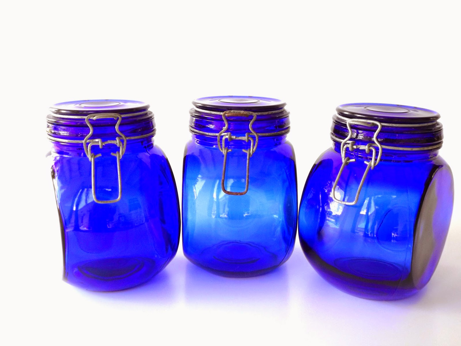 Still Stunning Vintage Resale Vintage Cobalt Jars Storage Container Home Decor Blue Glass