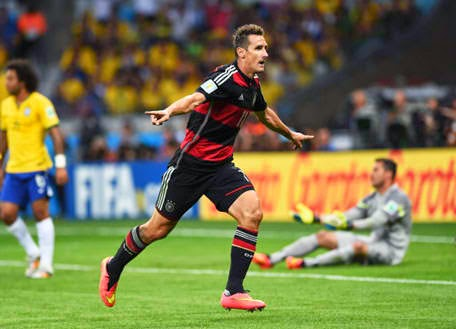 Germany's 36-year-old striker Miroslav Klose became the all-time leading goal scorer in the World Cup finals history which socred his 16th goal in 23 minutes during the Semi-finals against Brazil on Tuesday.