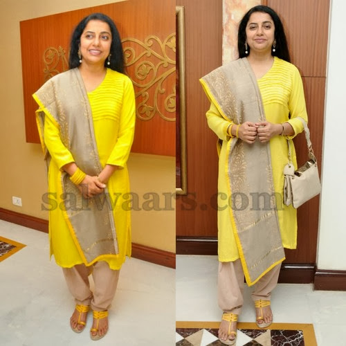Suhasini Yellow Silk Churidar