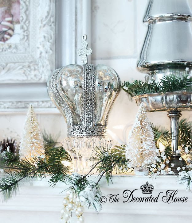 Mercury Glass Crown :: The Decorated House ~ Chrismtas Decor Decorations White with Mercury Glass and Silver 2013
