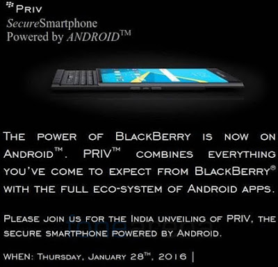 BlackBerry Priv going to India on 28 January