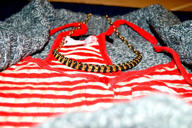 Forever 21 knit cardigan, necklace and Urban Outfitter red striped top