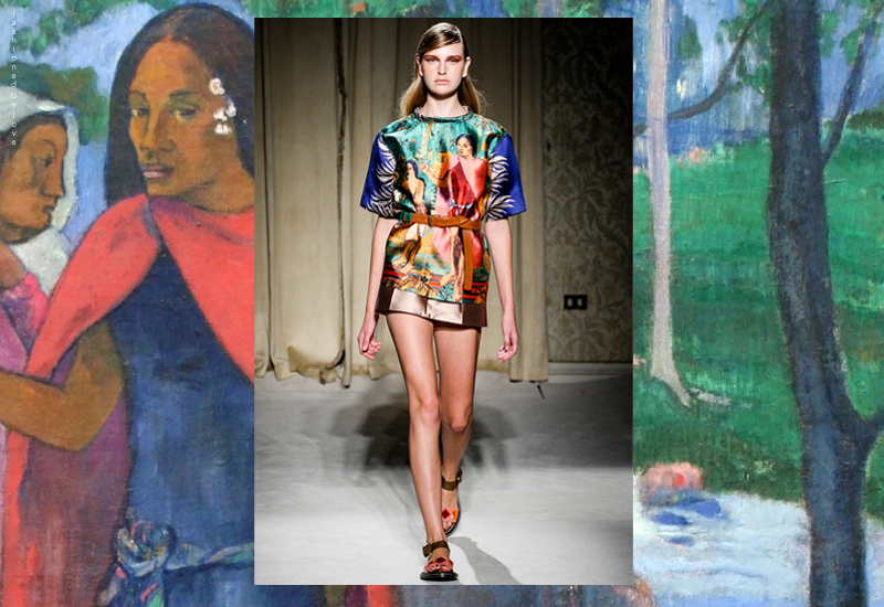 Paul Gauguin works, and the Magician  of Hiva Oa in particular, inspired Aquilano.Rimondi Spring/Summer 2014 collection