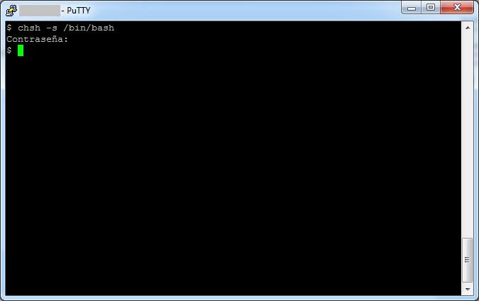 Cambiar la shell de sh a bash: chsh -s /bin/bash