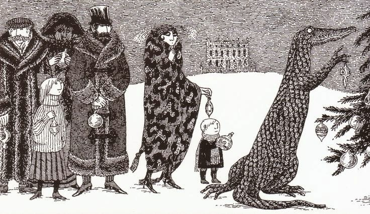 Oh By The Way BEAUTY Holiday Illustration Edward Gorey