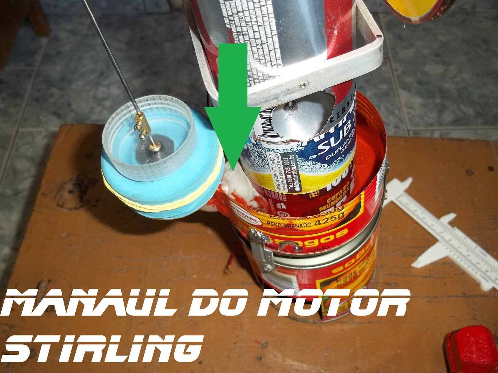 Manual do motor Stirling, o joelho foi colado no cilindro com cola durepoxi