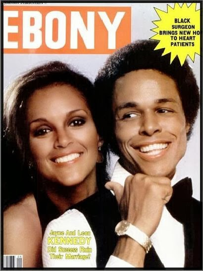 Jayne Kennedy and her husband Leon Kennedy on the cover of ebony
