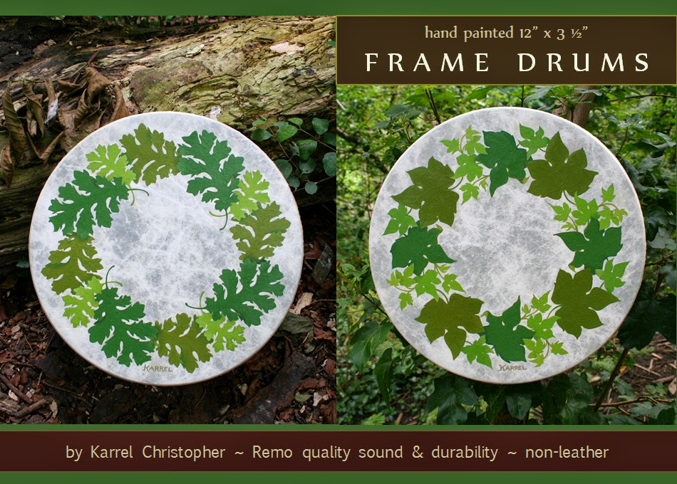KARREL\'s Creative Path: Oak and Ivy Leaves ~ Painted FRAME DRUMS