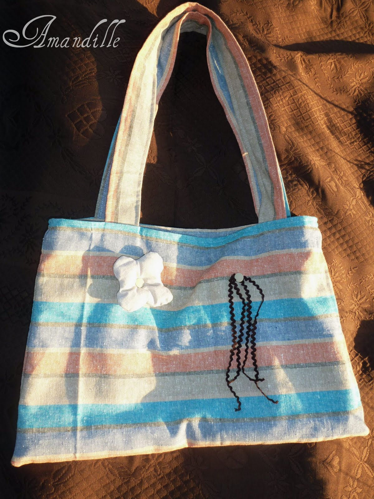 Tuto couture facile le sac de plage en toile patron gratuit pattern free - Comment faire un sac en tissu ...