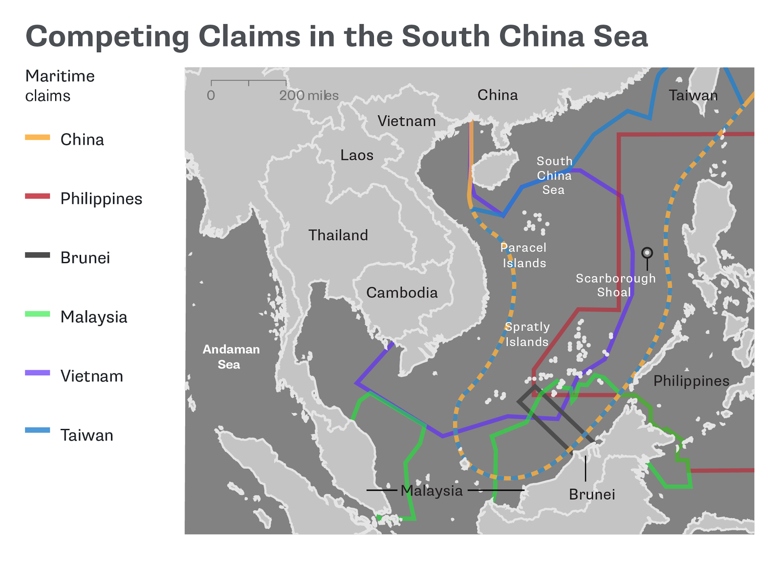 quicktake map shows overlapping territorial claims of brunei china malaysia taiwan the