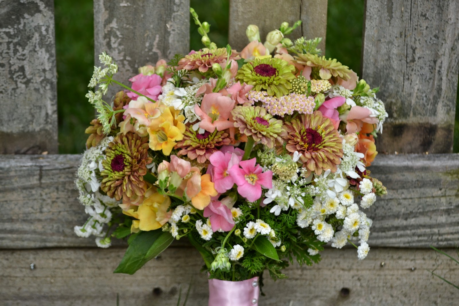 Wedding Flowers From Springwell Chantilly Snapdragons And Zinnia Bouquet For Early Summer Weddings
