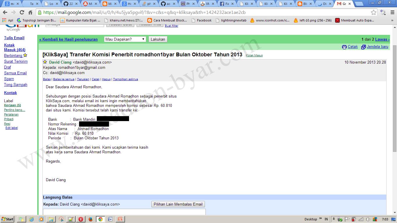 Transfer Komisi Penerbit romadhon1byar Bulan Oktober Tahun 2013 - www[dot]romadhon-byar[dot]com