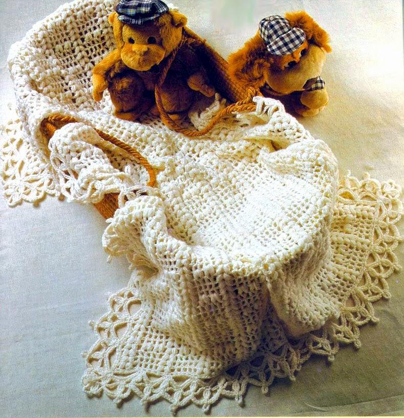 tejidos artesanales en crochet: manta para cuna de bebe tejida en ...