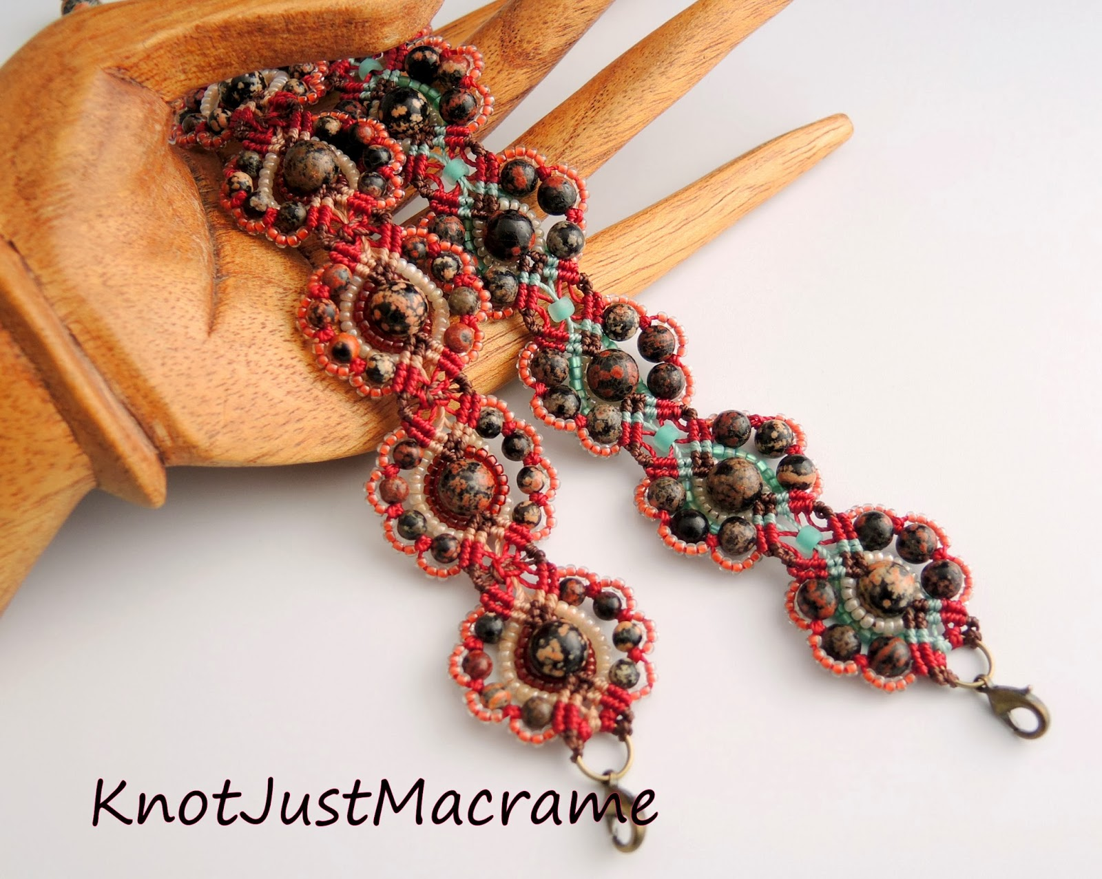 Two micro macrame bracelets knotted by Sherri Stokey