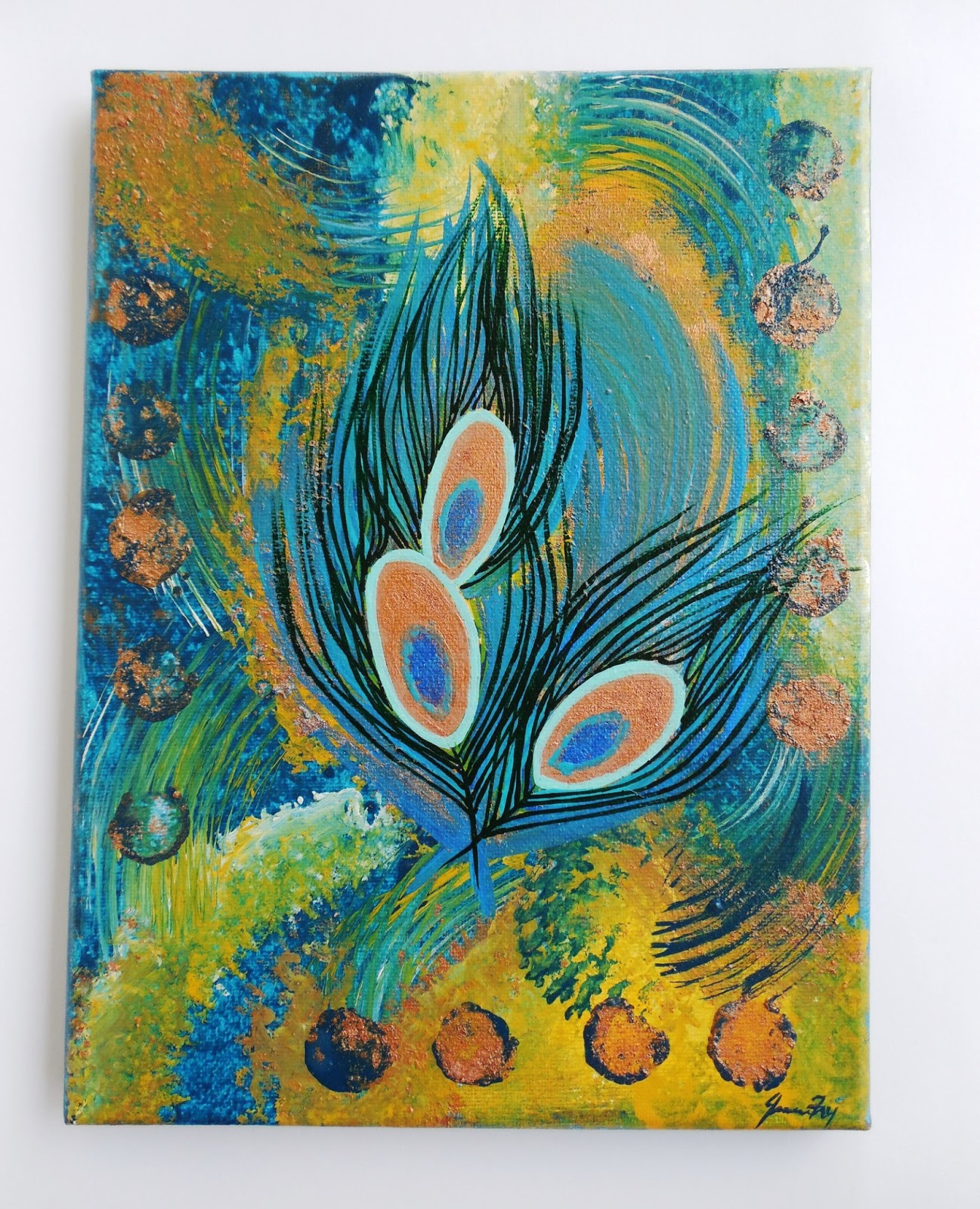 Conscious art studios peacock and its symbolic meaning abstract peacock original painting by jeanne fry biocorpaavc Gallery