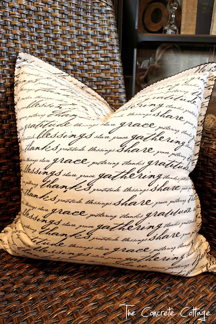 Linen+Napkin+Script+Pillow+5 Upcycled, Repurposed home decor ideas {Newbie with a twist party started}