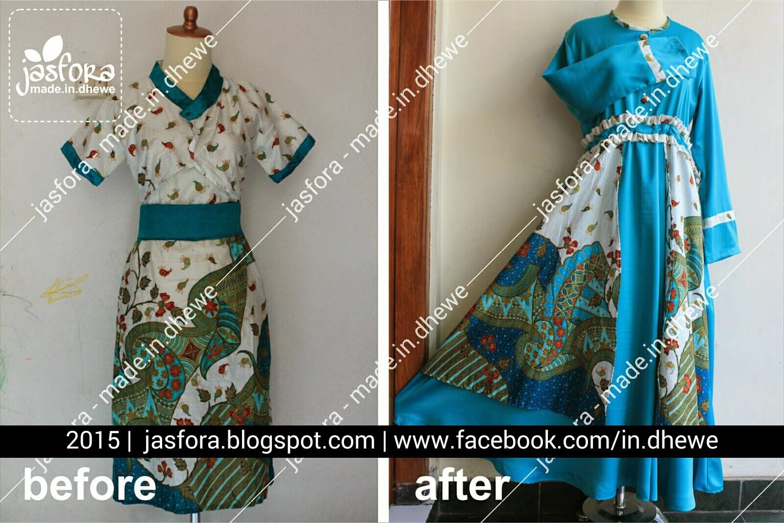 permak dress batik menjadi gamis