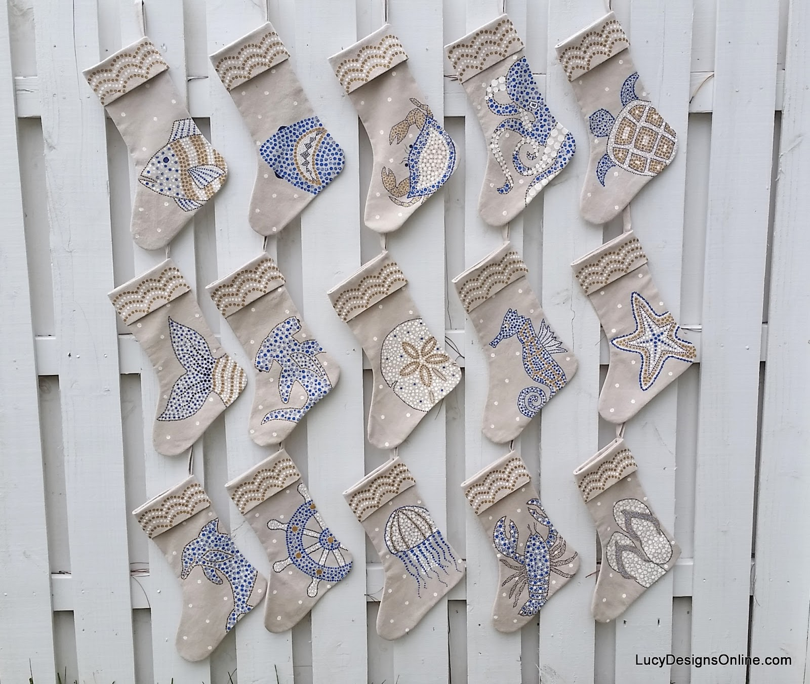 Lucy Designs hand painted sea life stockings