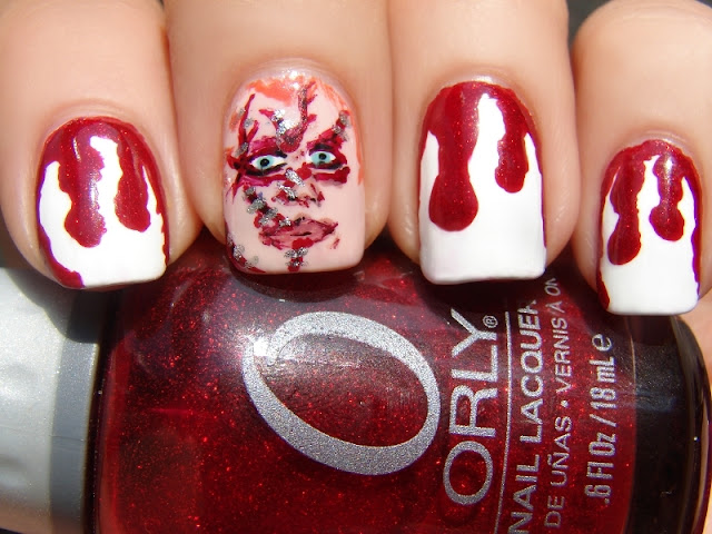 nails nail art nailart polish mani manicure Spellbound character nails movie Chucky Child's Play Blood drips red white China Glaze Wet n' Wild Sally Hansen LA Colors shimmer ABC Challenge horror Halloween