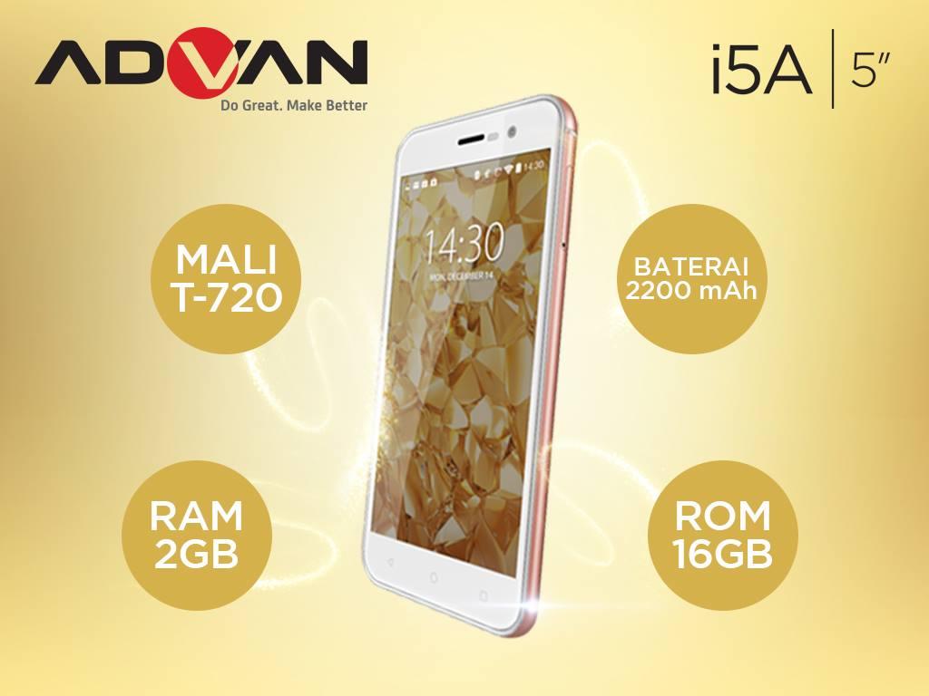 Harga Advan I5A Spesifikasi 4G LTE OS Lollipop RAM 2GB