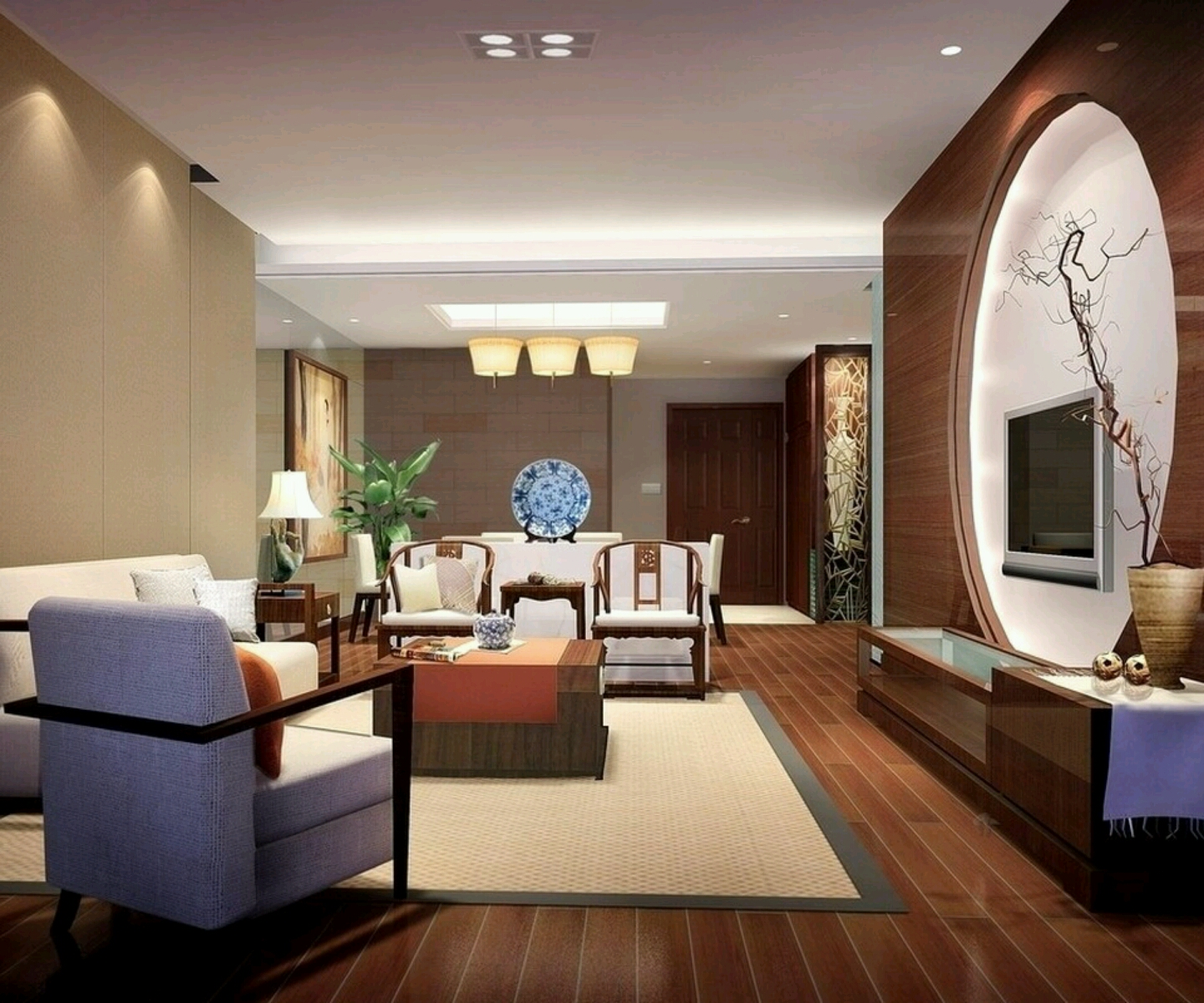 Luxury homes interior decoration living room designs ideas for Latest decoration of living room