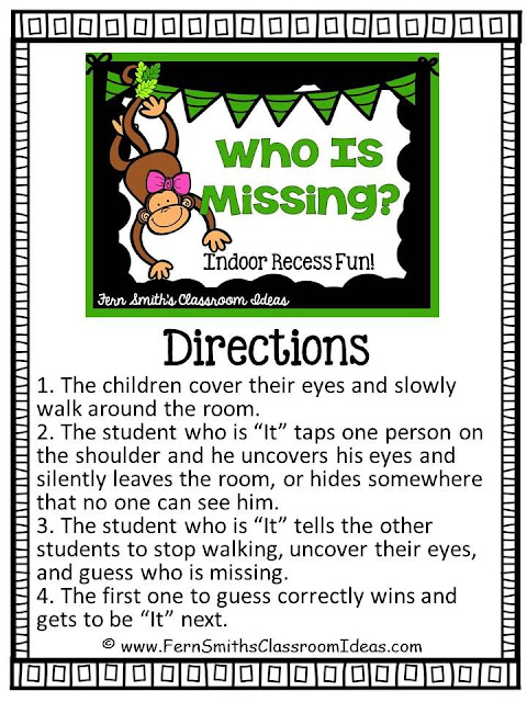Fern Smith's Classroom Ideas FREE Printable Indoor Recess Fun - Who Is Missing? Free Printable Direction Sheet! To Help You in Your Classroom develop an Indoor Recess Binder! Perfect for your Sub Tub or Substitute Binder too! FREE!