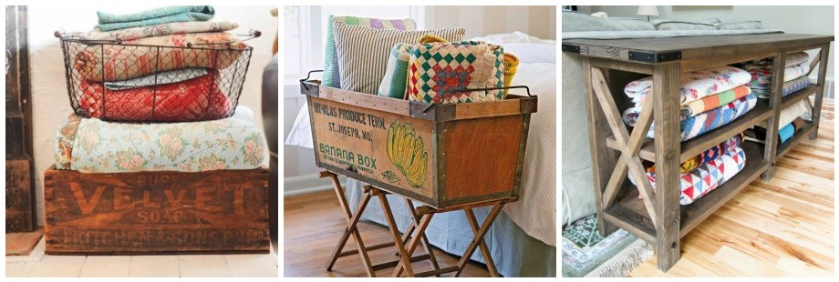Wire Basket Wooden Crate Quilt Storage Table