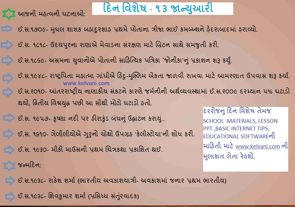DIN VISHESH 13 JANUARY BY KELVANI COM TODAYS HISTORY IN GUJARATI.
